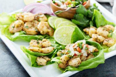 Keto Diet Spicy shrimp lettuce wraps Healthy Eating